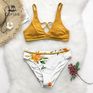 Yellow Floral Print Bikini Women Cross Triangle Two Piece Bathing Suit Swimwear