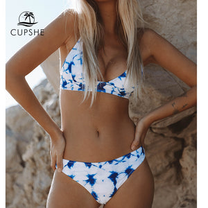Blue Tie dye Bikini Women Lace Up Beach Bathing Suit Swimwear Two Piece