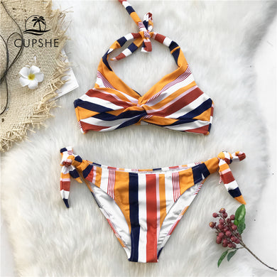 Navy And Orange Striped Twist Halter Bikini Women Swimsuit Beach Swimwear