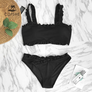 Black Solid Bikini Women Plain Ruffle Crop Top Two Piece Swimwear Beach