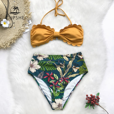 Yellow And Floral Print High Waisted Bikini Women Heart Neck Halter Swimwear