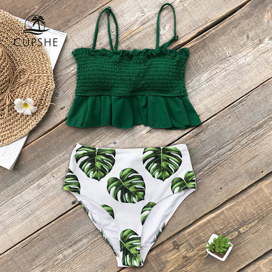 Smocked Green Leaf Print High Waisted Bikini Women Ruffle Swimwear Beach