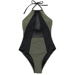 Army Green And Black Halter One piece Women Patchwork Backless Monokini Swimwear