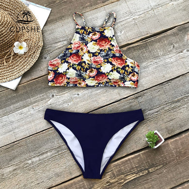 Floral And Navy Braided Strap Tank Bikini Women High neck Swimsuits Swimwear