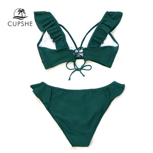 Solid Green Ruffled Bikini Women Lace up Swimsuit Beach Bathing Suits Swimwear