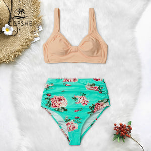 Pink And Green Floral High waisted Bikini Women Heart Neck Swimsuit Swimwear