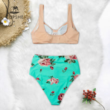 Load image into Gallery viewer, Pink And Green Floral High waisted Bikini Women Heart Neck Swimsuit Swimwear