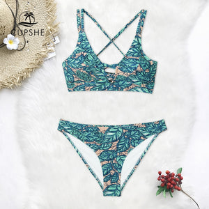 Leaves Print Lace Up Bikini Women Lace up Swimsuit Beach Bathing Suits Swimwear