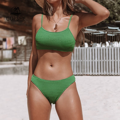 Green Smocking Bikini Women Solid Two Piece Swimsuit Bathing Suit Swimwear