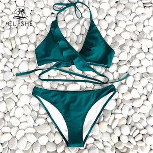 Green Solid Ruffled Halter Bikini Women Swimsuit Beach Swimwear
