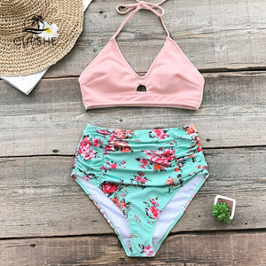 Pink And Floral High waisted Bikini Women Halter Swimsuit Beach Swimwear