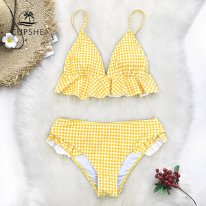 Yellow Gingham Ruffled Bikini Women Swimsuit Beach Bathing Suit Swimwear