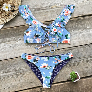 Blue Floral Ruffle Reversible Bikini Women Lace Up Swimwear Beach Bathing Suit