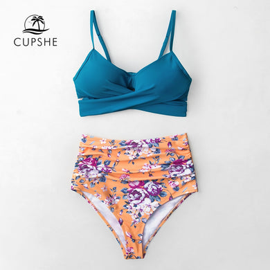 Blue Wrap And Floral High waisted Bikini Women Push Up Beach Swimwear
