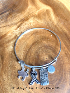 Autism Awareness Bracelet - ADJUSTABLE WIRE BANGLE Charms