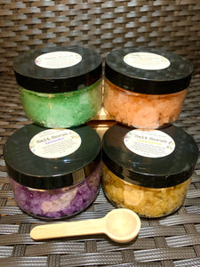 Salt Scrub 4 oz LAVENDER LEMONGRASS PEPPERMINT With Wooden Spoon