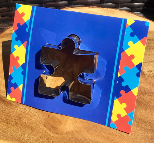 Autism Awareness Acceptance Puzzle Piece COOKIE CUTTER & RECIPE CARD