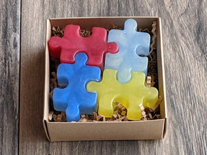 Autism Puzzle Piece Soap  Sulfate Paraben Free Set of 4 Multicolor Variety of Scents