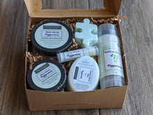 Load image into Gallery viewer, Scent Themed Gift Box LAVENDER, PEPPERMINT or CITRUS Soap Lip Balm Lotion Stick Salt Scrub Bath Salt +