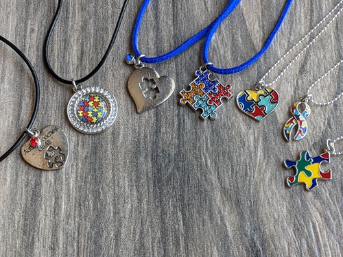 Autism Awareness Necklace SILVER TONE Charms Heart Puzzle