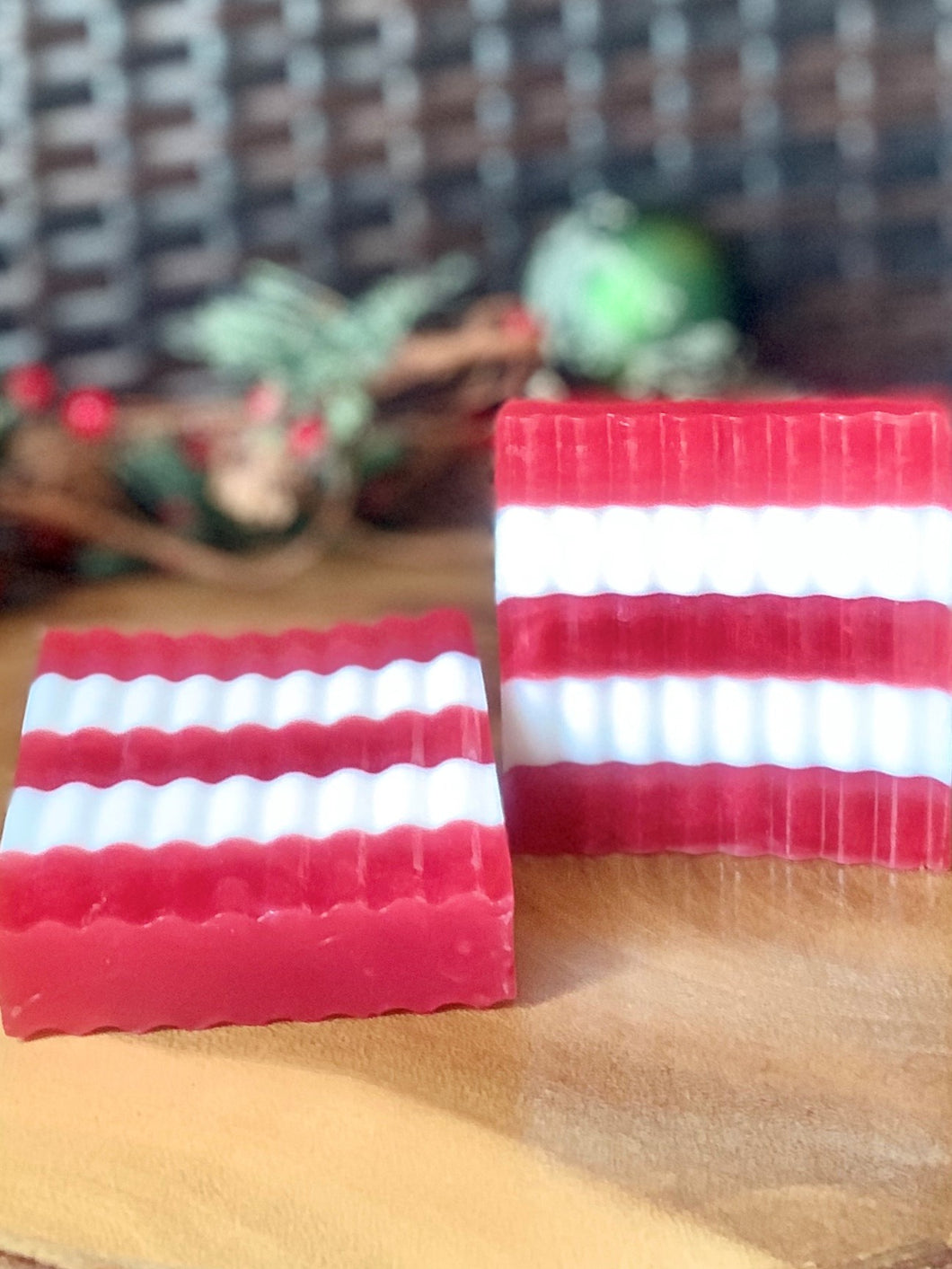 Peppermint  Soap Candy Cane Stripes - Individual And Gift Set - Christmas