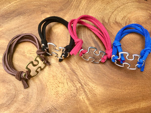 Autism Awareness Bracelet - ADJUSTABLE - Faux Suede Blue Black Brown Pink Puzzle Connector