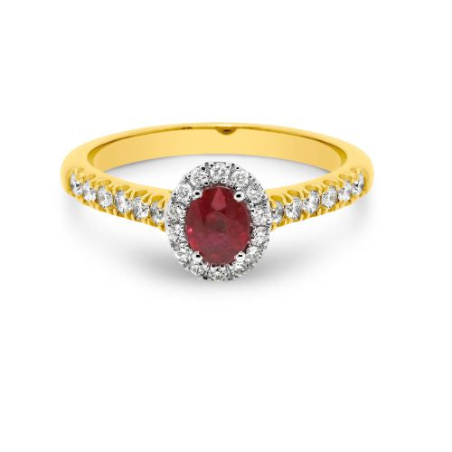 18ct Yellow and White Gold Oval Ruby and Diamond Halo Ring