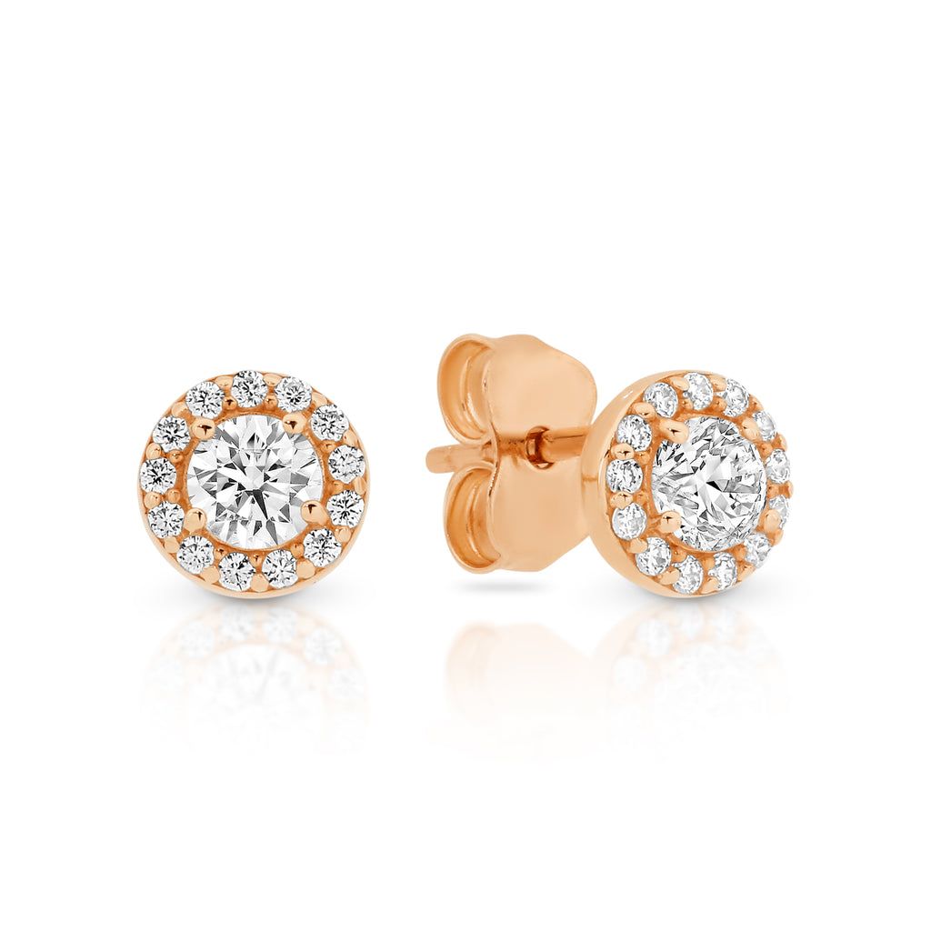 9ct Rose Gold CZ Halo Stud Earrings