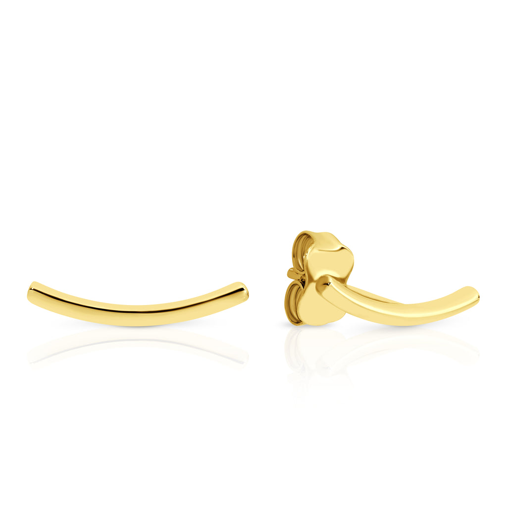 9ct Yellow Gold Curved Bar Stud Earrings