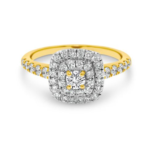 9ct Two Tone Double Halo Ring with Shoulder Diamonds