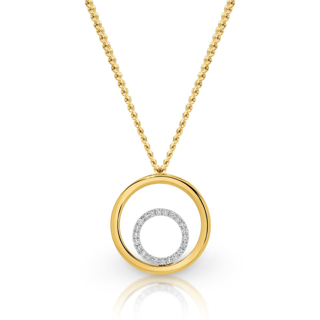 9ct Two-Tone Diamond Pendant