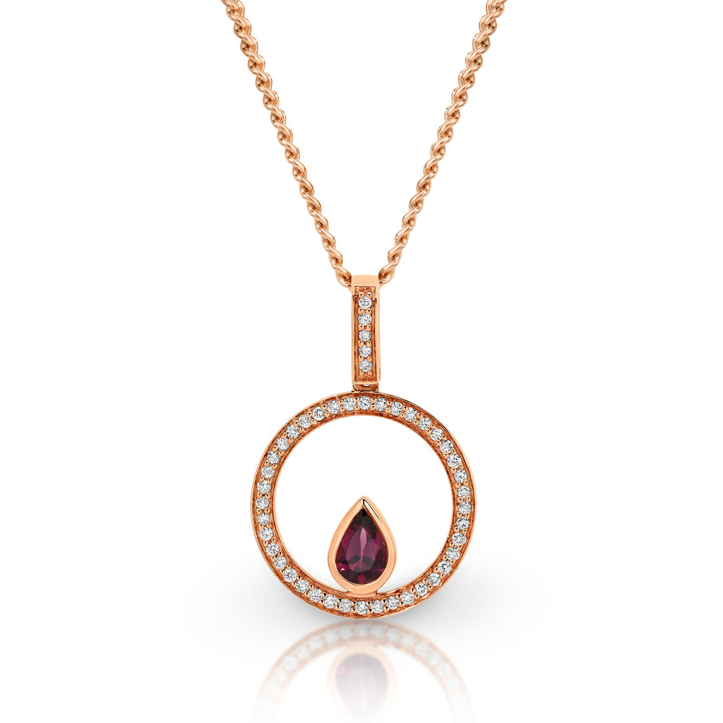 9ct Rose Gold Rhodalite Garnet & Diamond Pendant