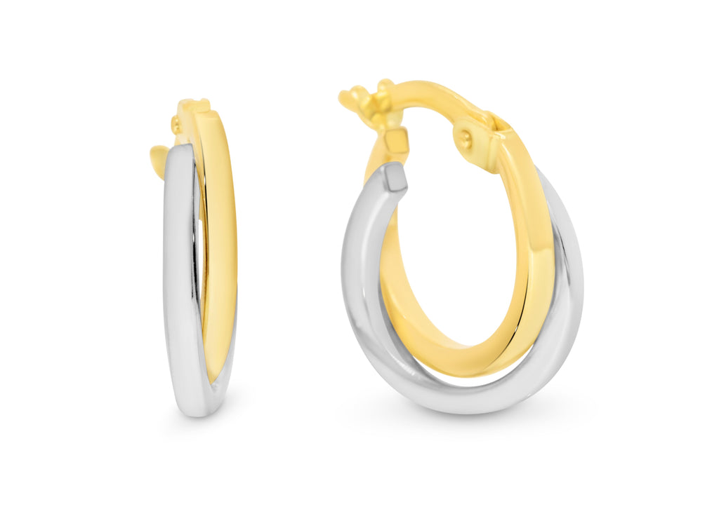 9ct Two-Tone Small Hoop Earrings