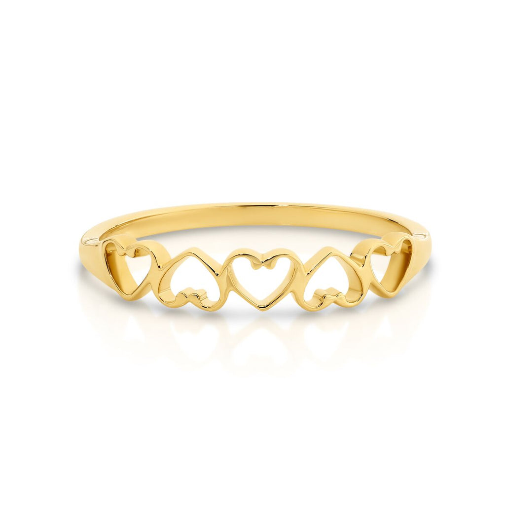 9ct Yellow Gold Five Hearts Ring