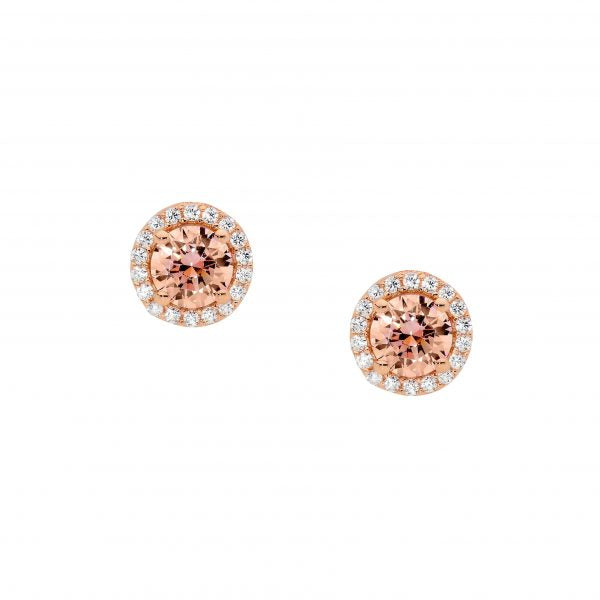 E501RM SS with RGP Morganite CZ with White CZ Halo Stud Earrings
