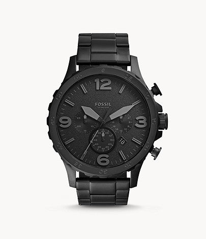 Fossil JR1401 Nate Chronograph Black Stainless Steel Watch