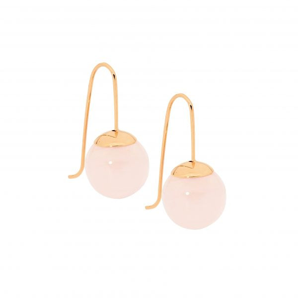 SE174R S/S with RGP 12mm Rose Quartz Ball Drop Earrings