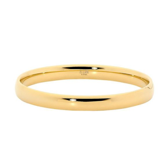 Ellani Stainless Steel 8mm wide Bangle w/ Gold IP Plating