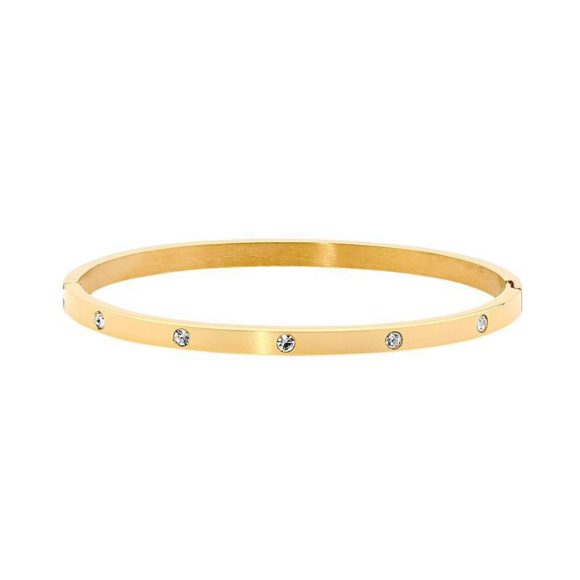 Ellani Stainless Steel Gold IP Plated Hinged 4mm wide Bangle w/ WH CZ