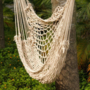 Beige Cotton Rope Hanging Chair Swing