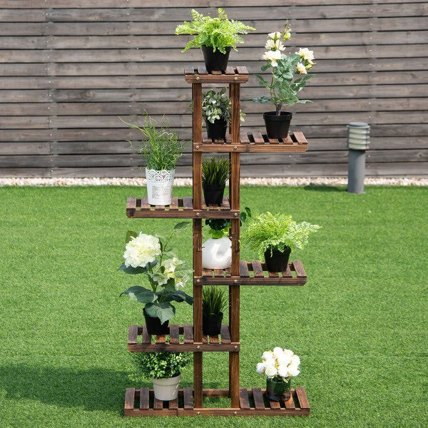 6-Tier Tall Wooden Plant Rack