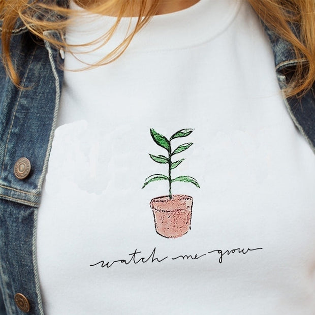 """Watch Me Grow"" Aesthetic White T-Shirt"