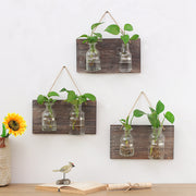 Rural Wooden Hanging Propagation Vases