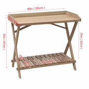 Wood Table Potting Bench Workstation w/ Hooks