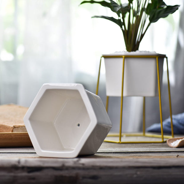 Hexagon Pot w/ Stand