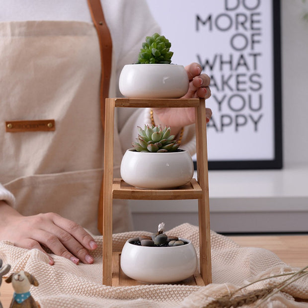 3-Tier Bamboo Shelf w/ Pots