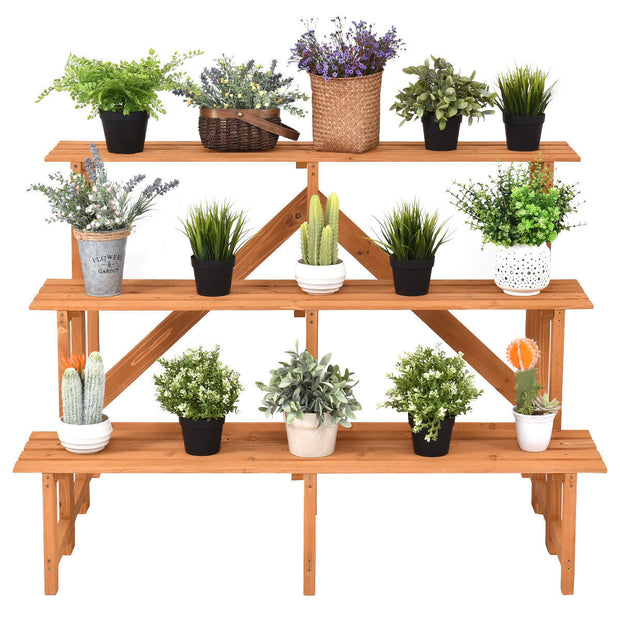 3-Tier Wide Wood Plant Stand Flower Pot Holder
