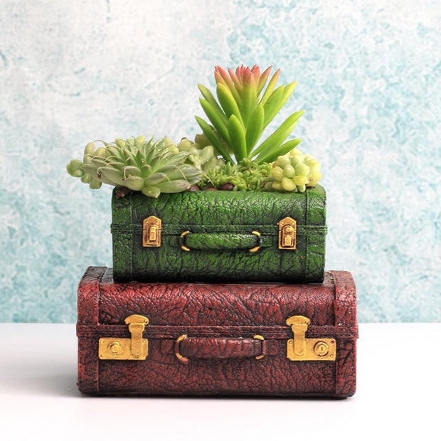 Stacked Retro Suitcase Pot