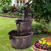 2-Tier Barrel Waterfall Fountain with Pump