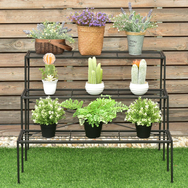 3-Tier Heavy Duty Metal Modern Plant Display Stand Rack